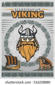 Viking vintage poster with face of Scandinavian Viking and his reg beard vector illustration