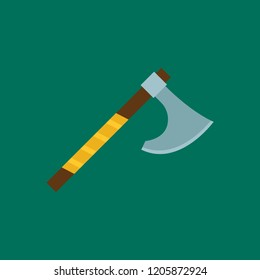 b6d3e69b242d8 Viking War Axe flat icon isolated on green background. Simple axe sign  symbol in flat
