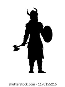 Viking warrior with his weapon isolated vector. Fighter silhouette on white background.