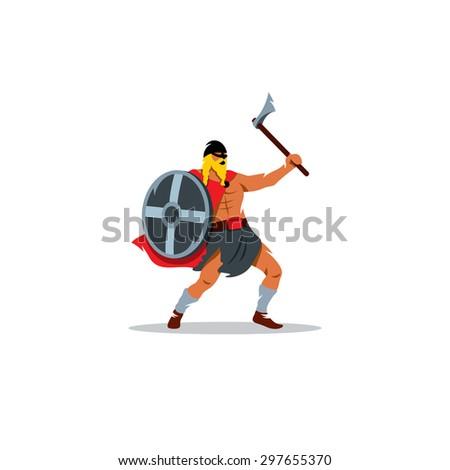 Viking Warrior With A Large Ax And Shield Sign Valhalla Scandinavia Norseman Symbol