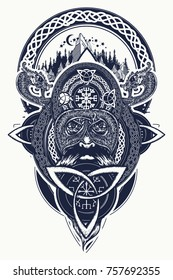 Viking warrior and mountains tattoo. Northern warrior, t-shirt design. Celtic emblem of Odin, dragons, viking helmet, ethnic style