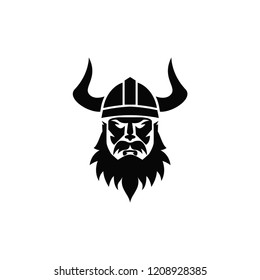 Viking warrior sport logo. Colored isolated on white background. Viking head vector stock icon logo material
