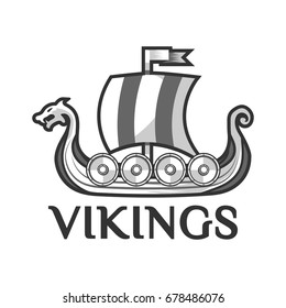 Viking warship boat with Drakkar or Drekar figurehead vector icon