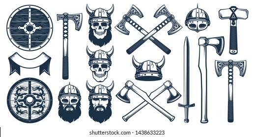 Viking weapon design elements for heraldic logo. Warrior head in a viking helmet. Vector illustration in stamp style.