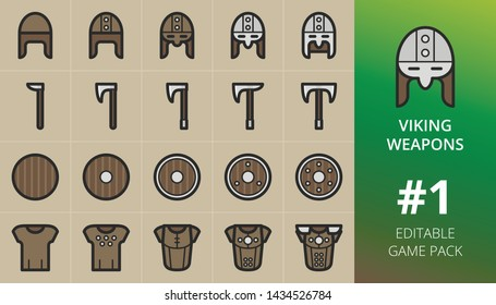 Viking weapons game icons set. Set of viking helmets, axes, shields, armor, armour. Editable RPG game pack