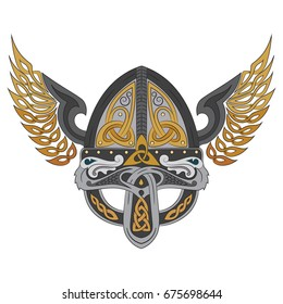 Viking winged helmet with Scandinavian pattern, vector illustration
