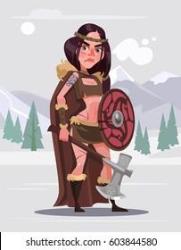 Viking woman warrior character with sword and shield. Vector flat cartoon illustration
