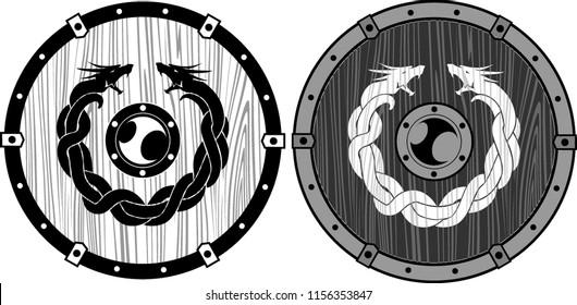 Viking Wooden Dragon Shield Set