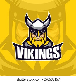 Viking yellow mascot logo design. Vector illustration
