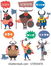 Vikings: 6 cartoon Vikings over white background. No transparency and gradients used.