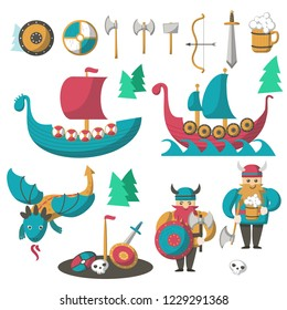 Vikings with armor, beer, flying dragon and longships. Vector flat illustration isolated on white background. Scandinavian warriors and seafarers cartoon characters of viking age.