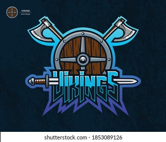Vikings arms, vector illustration. Axes, shield, sword.