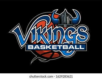 vikings basketball team design with horned helmet and ball for school, college or league
