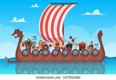 Vikings battle ship. Travel history boat with norway vikings warrior vector cartoon background