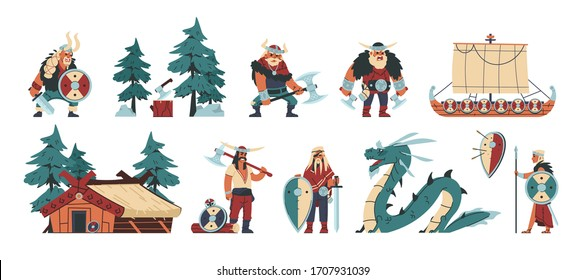 Vikings. Cartoon barbarian characters with steel and leather weapon and armor, scandinavian funny illustration. Vector history isolated character barbarians flat set