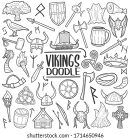 Vikings doodle icon set. Middle Age Warriors weapons and tools. Vector illustration collection. Hand drawn Line art style.