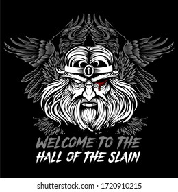 Vikings god Odin with ravens t-shirt vector design