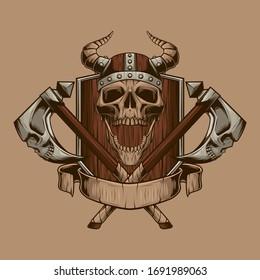 Vikings illustration. Skulls vector. Print design.