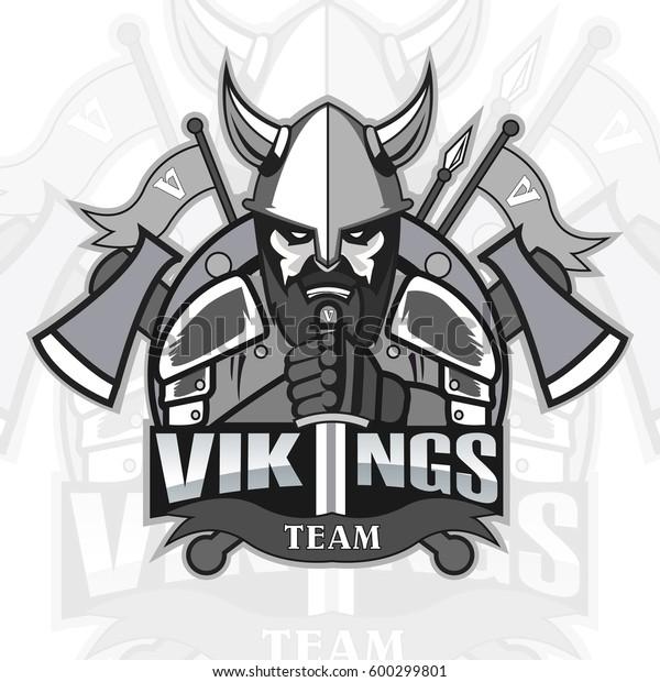 a9b33897 Vikings Logo Mascot Team On Color Stock Vector (Royalty Free) 600299801