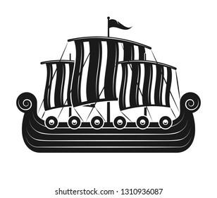 Vikings sail boat or scandinavian drakkar black and white silhouette isolated vector illustration