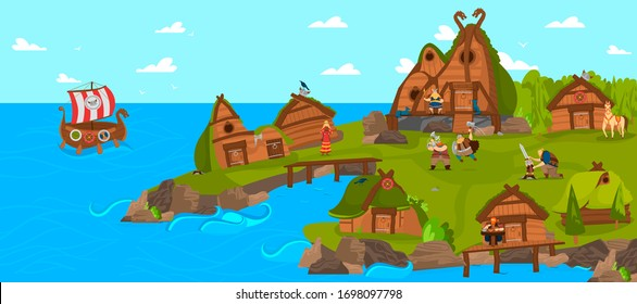 Vikings and scandinavian warriors settlement funny cartoon vector illustration from Scandinavia history mythology comic art. Vikings ship in sea and men in helmet with hammers, swords village.
