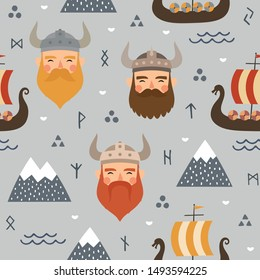 Vikings seamless pattern with viking ship and warrior axe, childish scandinavian vector background, kids apparel, fabric, textile, nursery vector illustration