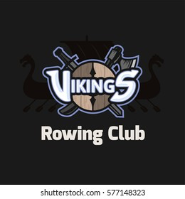 Vikings sport logo emblem for rowing club, long military ship Drakkar, shield with crossed battle ax and sword, vector logotype isolated on white background