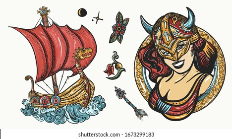 Vikings tattoo collection. Scandinavian culture. Valhalla art. Northern history. Medieval long boat, woman warrior