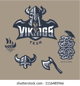 Vikings Team Odins Army Mascot Logo in Set