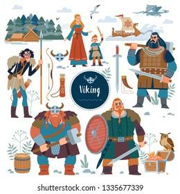 The Vikings. Viking flat characters and Set viking. Knife, drakkar, axe, helmet, sword, hammer, dragon, crossbow, gold, treasure. Design element for poster,  illustration. Flat style
