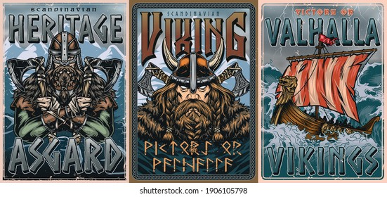 Vikings vintage colorful posters with strong bearded nordic warriors and drakkar ship sailing on stormy sea vector illustration