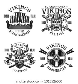 Vikings warriors vector emblems, labels, badges, logos or t-shirt prints in monochrome vintage style isolated on white background