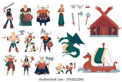 Vikings warriors with weapon in armor and horned helmets. Vector cartoon isolated illustrations on theme scandinavian medieval era characters people, house and ship, fantasy dragon