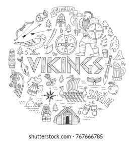 Vikings-handdrawn conceptual illustration with lettering elements and viking life symbols.Art which can be used as t-shirt print, decoration for historical reconstruction festivals, museum exhibition.