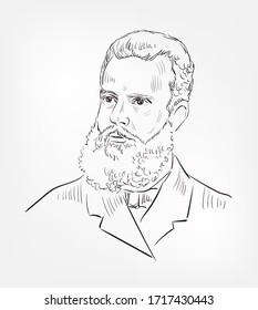 Vilfredo Pareto famous italian engineer, sociologist, economist, political scientist, and philosopher vector sketch portrait