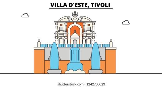 Villa D este, Tivoli line travel landmark, skyline, vector design. Villa D este, Tivoli linear illustration.