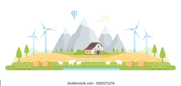 Village by the mountains - modern flat design style vector illustration on white background. A composition with a barn, trees, windmills, farm animals, haystacks, hills
