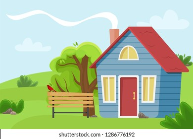 Village cottage in the field. Flat vector illustration.Countryside landscape.