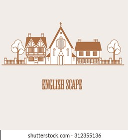 Village english scape with church and cottages. Vector illustration