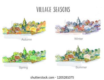 Village in four seasons illustration, sketchy design, vector graphic