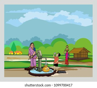 Village with Hand pump