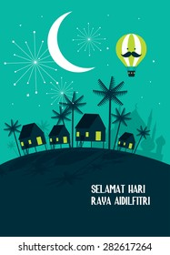 village hari raya greeting with malay word selamat hari raya aidilfitri that translates to wishing you a joyous hari raya template vector/illustration