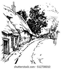 Village Homes from England, vector illustration