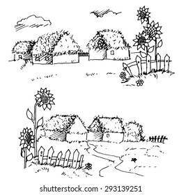 village village hut and sunflowers drawing contour vector