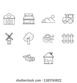 village icon set outline