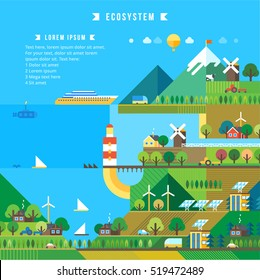 Village and landscape flat illustration. Mountain landscape. Ecological holidays. The development of agriculture.