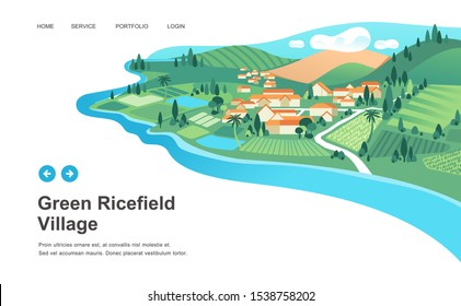 village landscape with mountain around, trees, houses, river and ricefield. nature and landscape vector illustration.