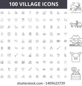 Village line icons, signs, vector set, outline illustration concept