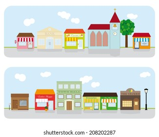 Village Main Street Neighborhood. Vector Illustration of small town main street with shops, church, bar and public buildings. All objects are grouped, text on separate layer. Flat design, no gradients