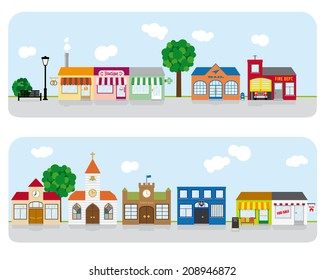 Village Main Street Neighborhood. Vector Illustration of small town main street with shops, church and public buildings. All objects are grouped, text on separate layer. Flat design, no gradients